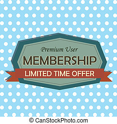 membership label on special blue background
