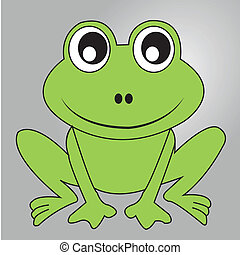 frog - cute frog on gray gradient background