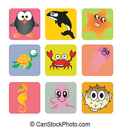 animals - cute animals on squares with different color
