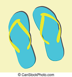 slipper on light yellow background