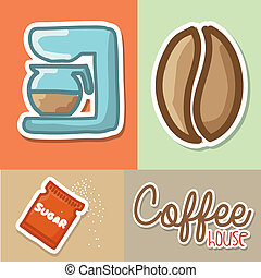 coffee house over colorful background vector illustration
