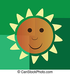 happy yellow sun - a round happy yellow sun in a green...