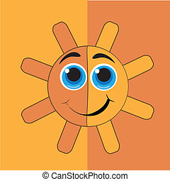happy yellow sun - a happy round yellow sun with two big...