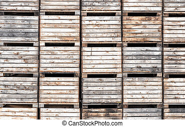 Apple crates stacked in storage