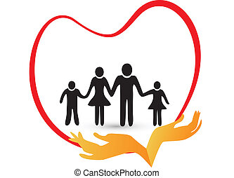 Family love logo vector - Family love protected by hands...