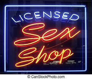 sexo, loja, sinal