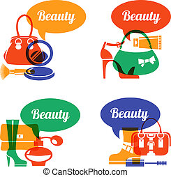 Set of fashion shopping icons Sale elegant stylish signs