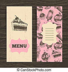 Menu for restaurant, cafe, bar, coffeehouse. Vintage  background with hand drawn illustration