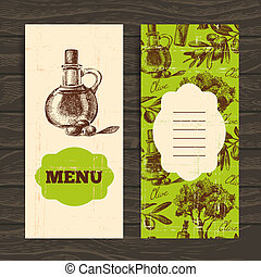 Menu for restaurant, cafe, bar Olive vintage background Hand...
