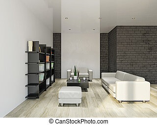 Livingroom with furniture - Leather sofa and armchair in the...