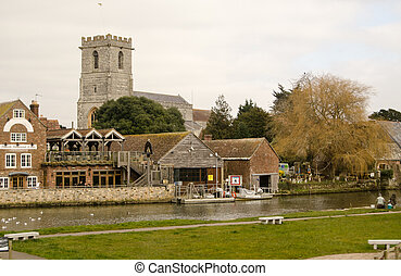 Wareham, Dorset - View across the River Frome towards...