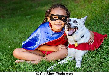Pretty mixed race girl hugging pet - Pretty mixed race girl...