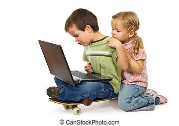 Children rival for using the laptop - Kids rival over...