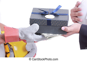 Businessman give gift for corruption something - Businessman...