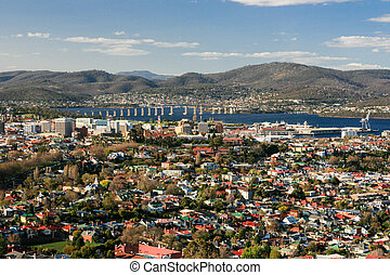 View toward Hobart CBD - View over Hobart towards the...