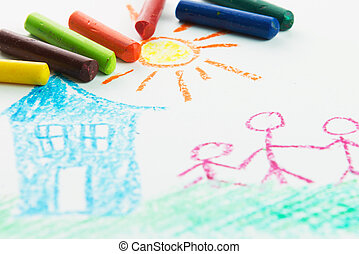 Kid drawing family near their house picture using crayons