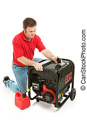 Disaster Preparedness - Checking Generator - Man checking...