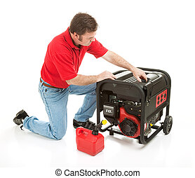 Disaster Preparedness - Power Supply - Man preparing to put...