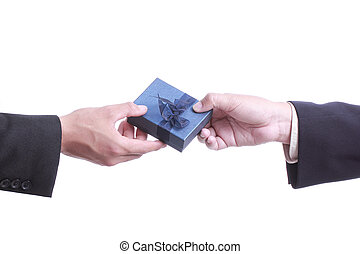Businessman give gift for good relationship in your business