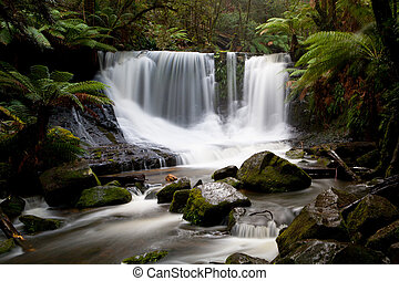 Horseshoe Falls in Mt Field National Park early on a winters...