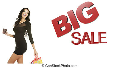 Sale concept. Woman with shoping bags. Isolated on white