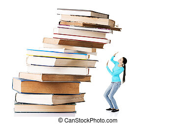 Student woman afraid of pile of books Isolated on white...