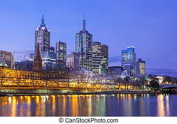 Melbourne Skyline at Dusk - Melbournes famous skyline from...