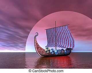 Viking Ship - Viking ship sailing on a surreal scene