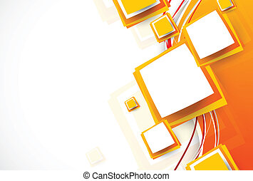 Abstract orange brochure with squares