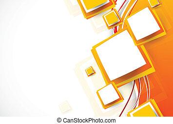 abstratos, laranja, folheto