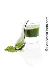 Wheat grass drink. - Green wheatgrass, spirulina and...