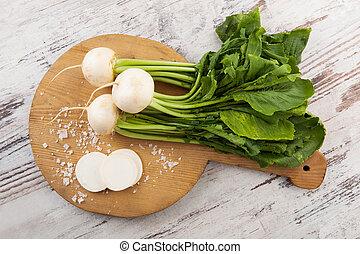 White round radish, country style. - White round daikon...