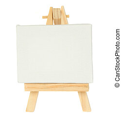 easel with empty canvas - easel with empty canvas isolated...