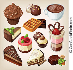 Set of chocolate food - Set of chocolate sweets, cakes and...