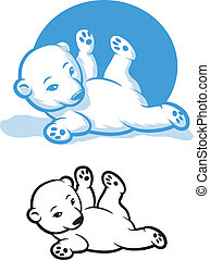 Bear Cub Illustration - Cartoon bear cub rolling around