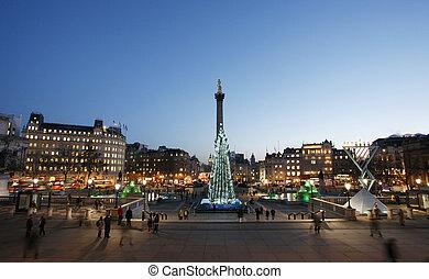 Trafalgar Square night view with christmas tree