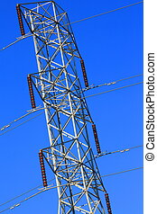 Electricity Pylon - Electricity pylon over clear blue sky