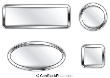 Metallic buttons - Metallic banners. Silver buttons. Icons....