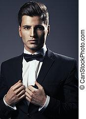gros plan, jeune, arc, cravate,  portrait, beau, homme