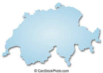 Map of Switzerland - A 2D illustration of a map of...