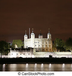 Tower of London seen from North Bank at Night