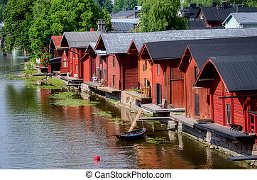 Porvoo, Finland Old wooden red houses on the riverside
