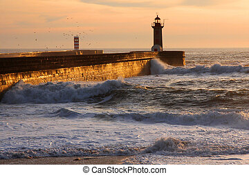 lighthouse in Foz of Douro, Porto, Portugal