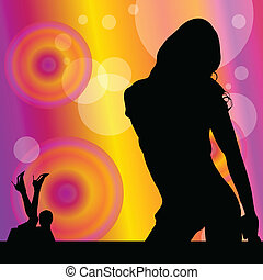 party girl in various pose vector illustration