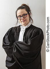 Woman lawyer - woman wearing canadian lawyer toga against a...