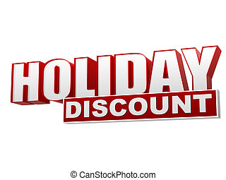 holiday discount red white banner - letters and block - text...