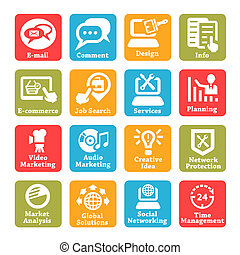 seo and internet service icons set - Color Seo And Internet...