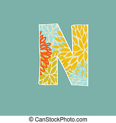 Hand drawn floral letter isolated on blue background Vintage...