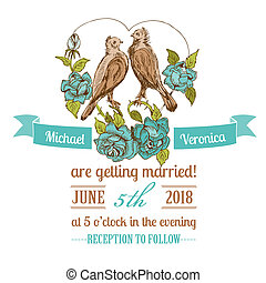 Wedding Vintage Invitation Card - Birds and Flowers Theme -...