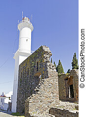 Lighthouse in Colonia del Sacramento, small colonial town,...